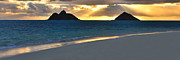Hawaiian Paradise Park Framed Prints - Lanikai Beach Sunrise Panorama - Kailua Oahu Hawaii Framed Print by Brian Harig