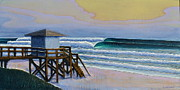 Surf Art Reliefs Framed Prints - Lantana Lifeguard Stand Framed Print by Nathan Ledyard