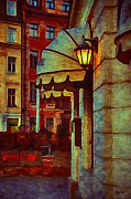Streetlight Mixed Media Posters - Lantern at the cafe Poster by Gynt