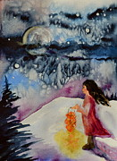 Snowy Night Prints - Lantern Festival Print by Beverley Harper Tinsley