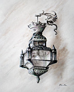 Vintage Lamp Drawings - Lantern in broad daylight by Danuta Bennett
