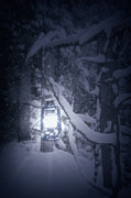 Winter Night Posters - Lantern In Snow Poster by Joana Kruse