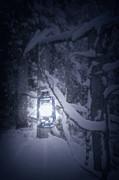 Lantern In Snow Print by Joana Kruse