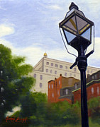 Long Street Painting Posters - Lantern Overlooking Boston II Poster by JJ Long