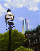 Long Street Painting Posters - Lantern Overlooking Boston Poster by JJ Long