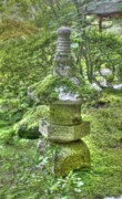 Japanese Lantern Prints - Lantern with moss Print by David Bearden