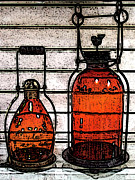 Glass Bottle Digital Art Prints - Lanterns Still Life Print by Ben and Raisa Gertsberg