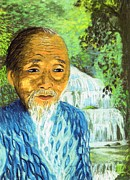 Waterfalls Paintings - Lao Tzu by Jane Small