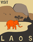 Paradise Digital Art - Laos Travel Poster by Jazzberry Blue