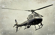 Police Department Framed Prints - LAPD Helicopter Framed Print by Fraida Gutovich