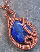 Copper Jewelry Acrylic Prints - Lapis Lazuli and Copper Sculpted Coil Pendant Acrylic Print by Heather Jordan