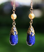 Earrings Photo Originals - Lapis Teardrops by Kelly Nicodemus-Miller