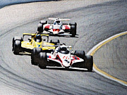 Indy Car Mixed Media Prints - Laps Print by Dennis Buckman