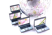 Simon Bratt Photography Acrylic Prints - Laptops with pink flower reflection Acrylic Print by Simon Bratt Photography