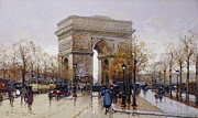 Vehicles Painting Framed Prints - LArc de Triomphe Paris Framed Print by Eugene Galien-Laloue