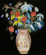 Floral Prints Framed Prints - Large Bouquet on a Black Background Framed Print by Odilon Redon