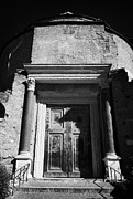 Ancient Doors Prints - Large Bronze doors to the entrance of the temple of romulus now a church Santi Cosma e Damiano in the imperial roman forum Rome Lazio Italy Print by Joe Fox