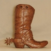 Wood Carving Sculpture Posters - Large Cowboy Boot Poster by Russell Ellingsworth