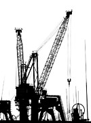 Cranes Photo Prints - Large Cranes at Kaohsiung Harbor Print by Yali Shi
