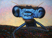 Insect Paintings - Large Damselfly by James W Johnson