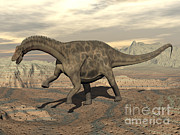 Three Dimensional Posters - Large Dicraeosaurus Dinosaur Walking Poster by Elena Duvernay