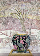Snowstorm Paintings - Large Ginger Jar in Snowstorm by Lillian Delevoryas
