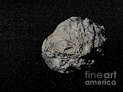 Three Dimensional Posters - Large Grey Meteorite In The Universe Poster by Elena Duvernay