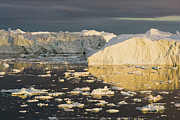 Mid Summer Prints - Large Icebergs At Midnight Greenland Print by Theo Allofs