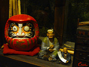 Daruma Prints - Large Japanese Daruma with Statues Print by Feile Case