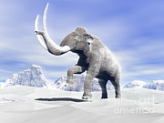 Three Dimensional Posters - Large Mammoth Walking Slowly Poster by Elena Duvernay