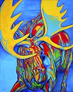 Rack Paintings - Large Moose by Derrick Higgins
