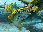Striped Bass Paintings - Large Mouth Bass and Blue Gills by Mike Savlen