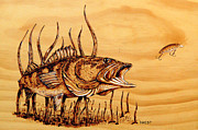 Bass Pyrography Acrylic Prints - Large mouth Bass Acrylic Print by Ron Haist