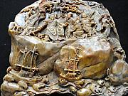 Chinese Sculptures - Large Shou Shan carving featuring the emperor and entourage on upper part and sampans on stormy sea by Anonymous artist