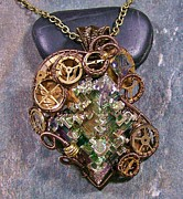 Jordan Jewelry - LARGE Steampunk Bismuth and Swarovski Crystal Pendant in Bronze STMBSM5 by Heather Jordan