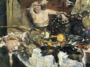 Game Painting Prints - Large Still Life with figure  Print by Lovis corinth
