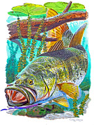 Trout Painting Originals - Largemouth Bass by Carey Chen