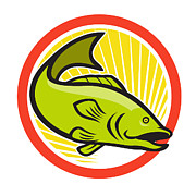 Largemouth Bass Posters - Largemouth Bass Jumping Cartoon Circle Poster by Aloysius Patrimonio