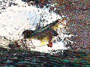 Largemouth Digital Art Posters - Largemouth Bass p180 Poster by Wingsdomain Art and Photography