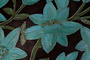 Silver Turquoise Mixed Media - Larger Blue Flowers by Cynthia Snyder