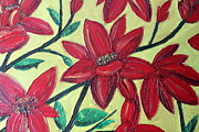 Cynthia Snyder Prints - Larger Red Flowers Print by Cynthia Snyder