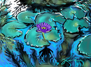 Florida Flowers Drawings - Largo Waterlilies by Jean Pacheco Ravinski