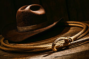 Cowboy Hat Photo Prints - Lariat and Hat Print by Olivier Le Queinec
