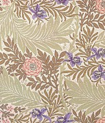 Fabric Art Tapestries - Textiles Prints - Larkspur Design Print by William Morris