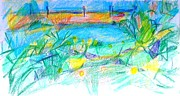 Colored Pencil Landscape Drawings Drawings - Larnaca Marina Cyprus by Anita Dale Livaditis