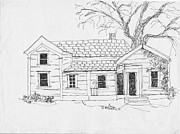 Old Houses Drawings - Larry and Terrys place by Sarah Hamilton