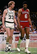 Julius Metal Prints - Larry Bird and Julius Erving Poster Metal Print by Sanely Great