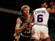 Julius Metal Prints - Larry Bird vs Julius Erving Poster Metal Print by Sanely Great