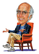 Caricaturist Framed Prints - Larry David Framed Print by Art