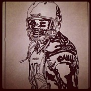 Sports Art Drawings Posters - Larry Fitzgerald Sketch Poster by Jeremiah Colley